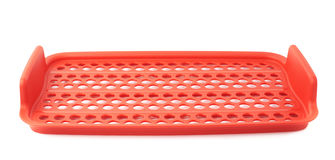 Red plastic food container lattice isolated over the white background Royalty Free Stock Image