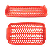 Red plastic food container lattice isolated over the white background Stock Photo