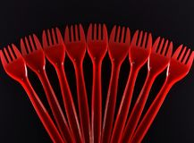 Free Red Plastic Fork Stock Images - 111695504