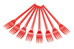 Red plastic fork stock images