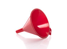 Red plastic funnel for pouring Royalty Free Stock Photography