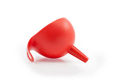 Red Plastic Funnel  on white background Stock Photos