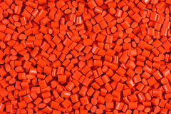 Red plastic granulate pellets Royalty Free Stock Photos
