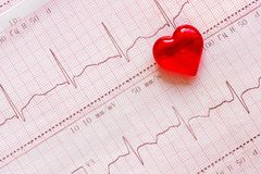 Plastic heart on the background of the electrocardiogram ECG. Red plastic heart on the background of the electrocardiogram ECG. The concept Healthy heart day royalty free stock image