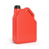 Red plastic jerry can. Red jerry can. Plastic canister with lid isolated on white background Stock Photos