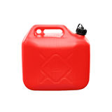 Red plastic jerrycan isolated on white Stock Images