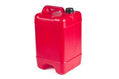 Red plastic jerrycan Stock Photo