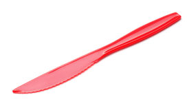 Red plastic knife. Red disposable picnic plastic knife isolated on white Stock Photography