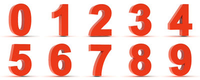 Red Plastic Numbers Stock Image