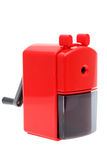 Red plastic pencil sharpener Royalty Free Stock Images
