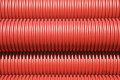 Red plastic pipes Royalty Free Stock Photo