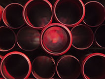 Red plastic pipes Royalty Free Stock Image