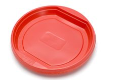 Red plastic plate Royalty Free Stock Photo