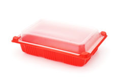 Red plastic rectangle  food tray with lid Royalty Free Stock Photo