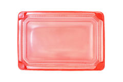 Red plastic rectangle  food tray with lid Royalty Free Stock Photography