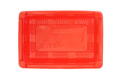 Red plastic rectangle  food tray Stock Photography