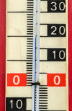 Red plastic retro thermometer Royalty Free Stock Image