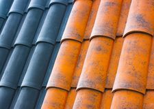 Red plastic roof tiles home Royalty Free Stock Photo