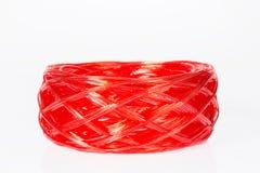 Red plastic rope Stock Photo