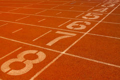 Red plastic runway and numbers in a sports ground, in Beijing, C Royalty Free Stock Photography