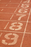 Red plastic runway and numbers in a sports ground, in Beijing, C Stock Photography
