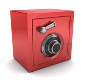 Red plastic safe. 3d illustration of red color safe over white background Royalty Free Stock Image