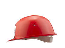 Red plastic safety  fireman helmet Royalty Free Stock Image