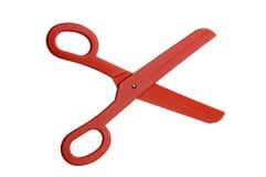 Red plastic scissors Stock Images