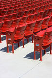Red plastic seats, rear side Stock Images