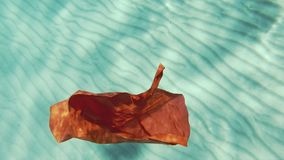 Red plastic shopping bag sinking