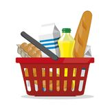 Red plastic shopping basket full of products. Grocery store. stock illustration