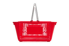 Red plastic shopping basket on a white background Stock Photos
