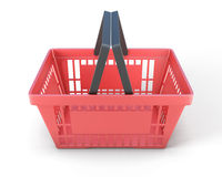 Red plastic shopping baskets for food Royalty Free Stock Photography