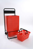 Red Plastic Shopping Baskets Royalty Free Stock Image