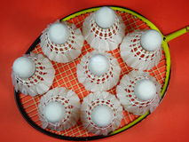 Red plastic shuttlecocks on badminton racket Royalty Free Stock Photography