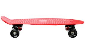 Red plastic skateboard Stock Images