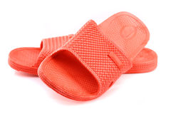 Red plastic slippers Stock Image