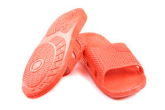 Red plastic slippers Stock Photo