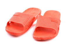 Red plastic slippers Stock Photography