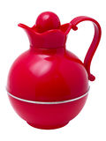 Red plastic thermos jug in the form Stock Images