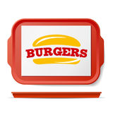 Red Plastic Tray Salver Vector. Classic Rectangular Red Plastic Tray. Good For Advertising, Branding Design. Top View. Restaurant, Fast Food Close Up Tray vector illustration