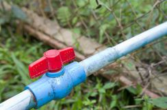 Red plastic valve Stock Image