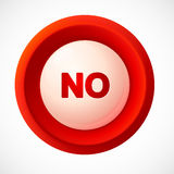 Red plastic vector NO button Stock Images