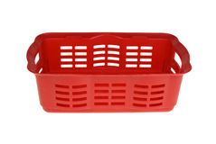 Red plastic vegetable basket Royalty Free Stock Images
