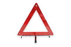 Red plastic warning triangle isolated white background Royalty Free Stock Photo