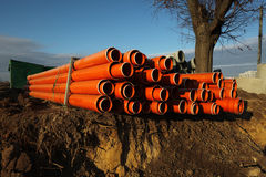 Red plastic water pipes Stock Image