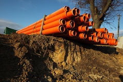 Red plastic water pipes Royalty Free Stock Photo
