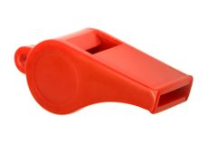 Red plastic whistle Royalty Free Stock Photos