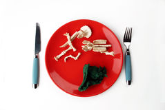 Red plate with bones Royalty Free Stock Photos