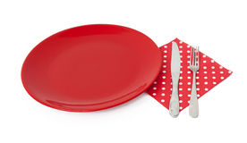 Red plate and cutlery Stock Images